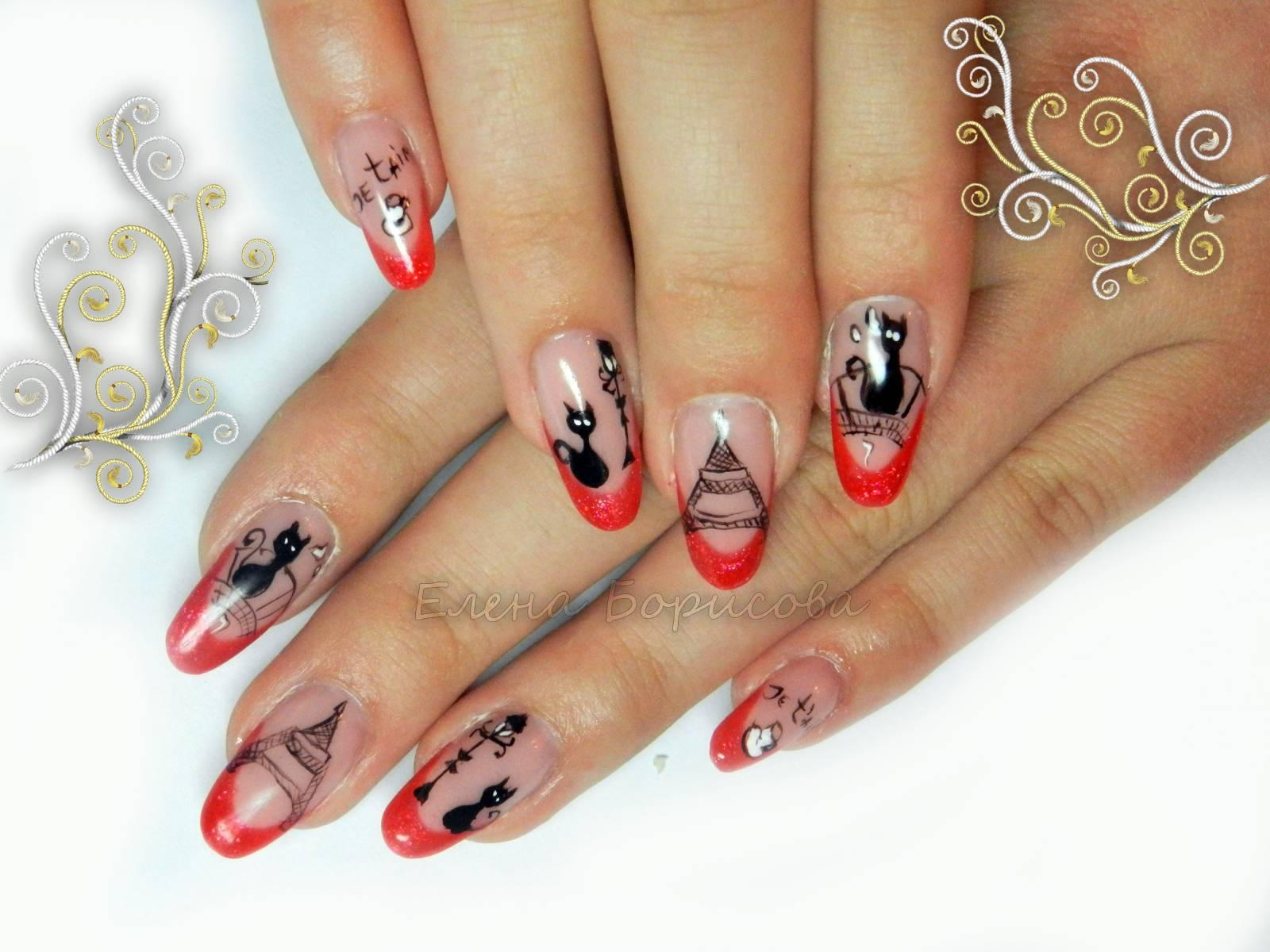 Фото красных ногтей с кошками