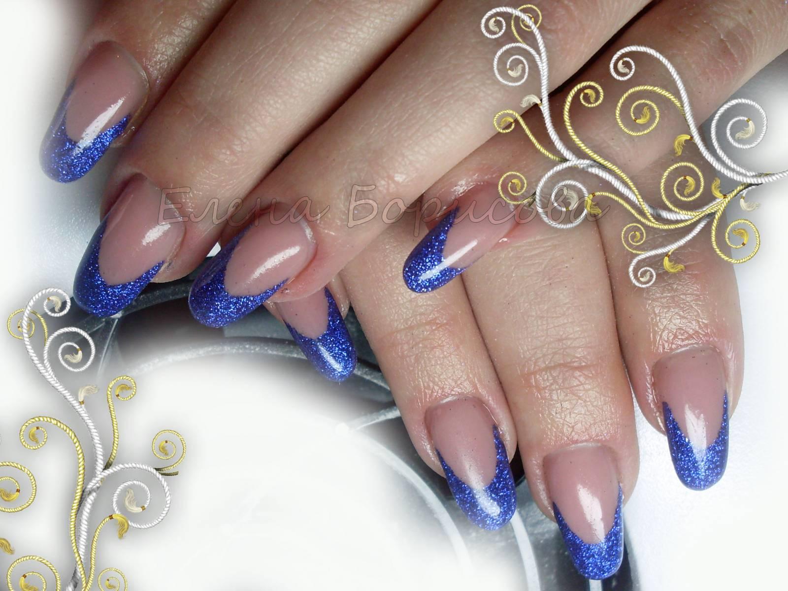 Маникюр фото синий френч с рисунком